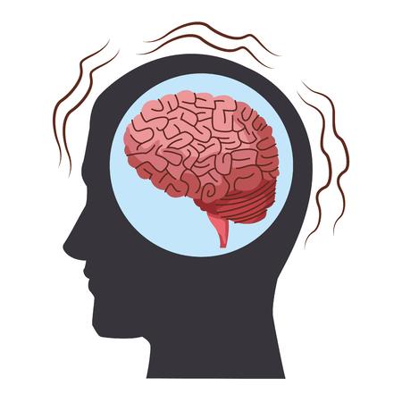 Alzheimer brain inside head silhouette vector illustration graphic design