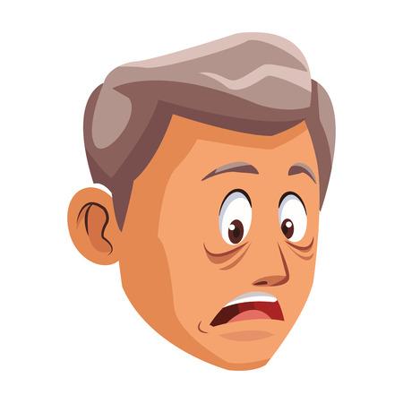 Alzheimer old man face cartoon vector illustration graphic design