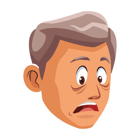 Alzheimer old man face cartoon vector illustration graphic design