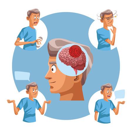 Alzhaimer disease old man round icons vector illustration graphic design