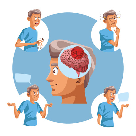 Ziekte van Alzhaimer oude man ronde iconen vector illustratie grafisch ontwerp