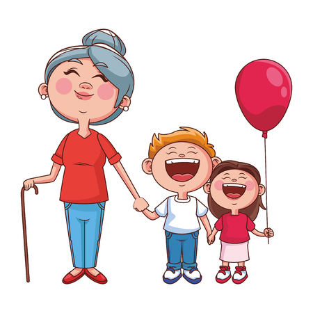 Grandparents and grandson with granddaugther vector illustration graphic design