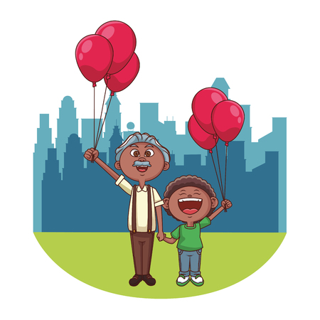 Grandfather with grandson holding balloons over cityscape scenery