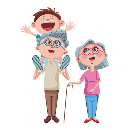 Grands-parents et petit-fils dessin animé vector illustration graphisme