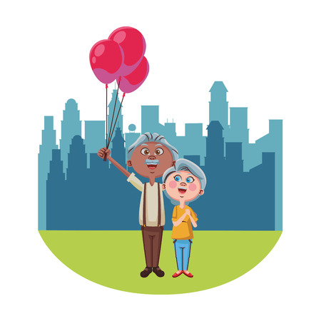 Cute grandparents couple with balloons over cityscape scenery vector illustration graphic design Ilustração