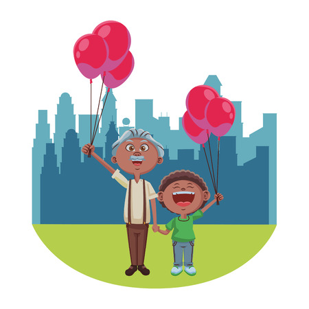 Grandfather with grandson holding balloons over cityscape scenery vector illustration graphic design