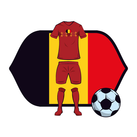 Belgium soccer uniform with ball over flag emblem vector illustration graphic design Vector Illustratie