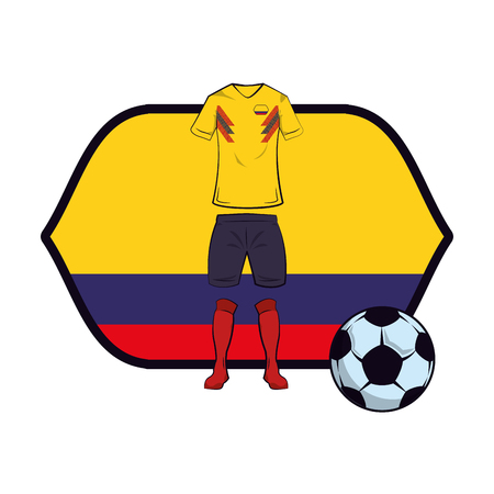 Colombia soccer uniform with ball over flag emblem vector illustration graphic design