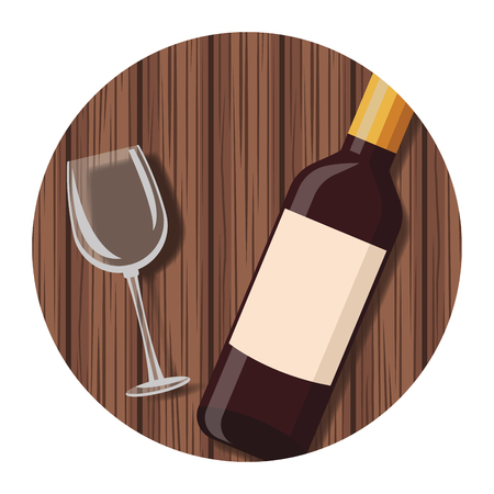 Wine bottle and cup on wooden table round icon vector illustration graphic design Ilustração