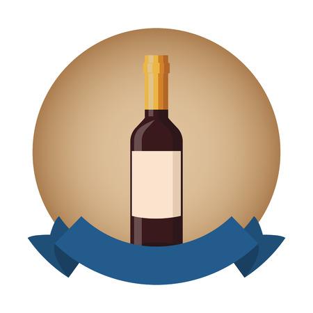 Wine bottle isolated round emblem blank ribbon banner vector illustration graphic design