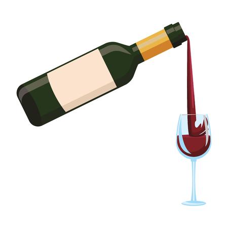 Wine bottle serving on cup vector illustration graphic design Illustration