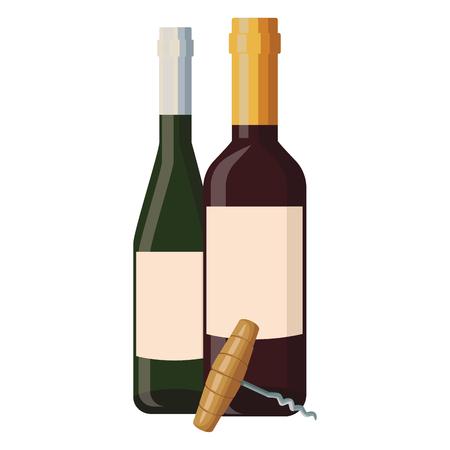 Wine bottles and corkscrew vector illustration graphic design