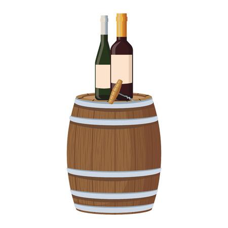 Wine bottles and corkscrew on barrel vector illustration graphic design Illustration