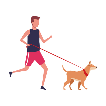 Fitness man running with dog vector illustration graphic design