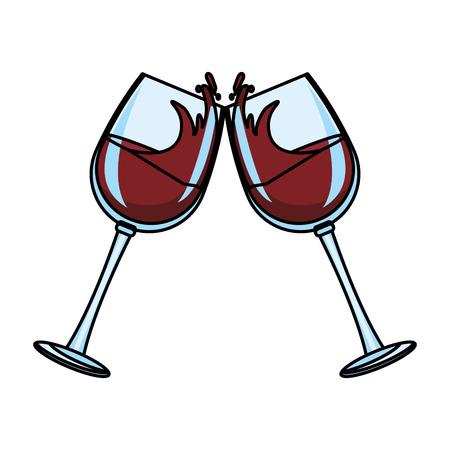 Wine glass toast vector illustration graphic design