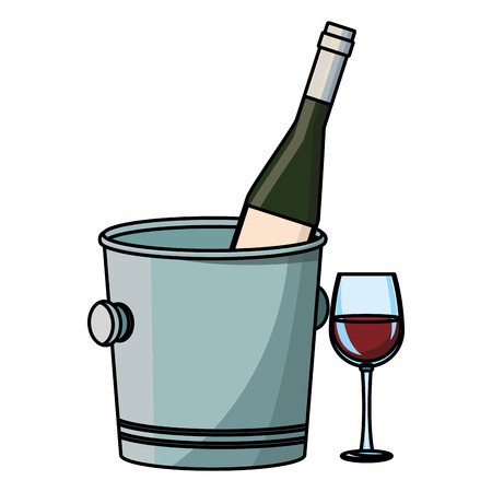 Wine bottle in bucket and cup vector illustration graphic design Illustration