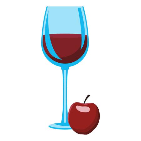 Apple wine cup vector illustration graphic design