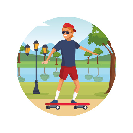person walking doing leisure activity at city park icon vector illustration graphic design