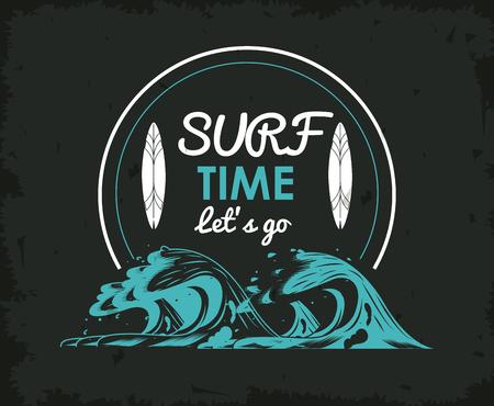 suft time surfboard and wave frame poster vector illustration graphic design Illustration