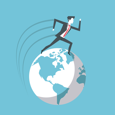 businessman leading the way to global success vector illustration graphic design