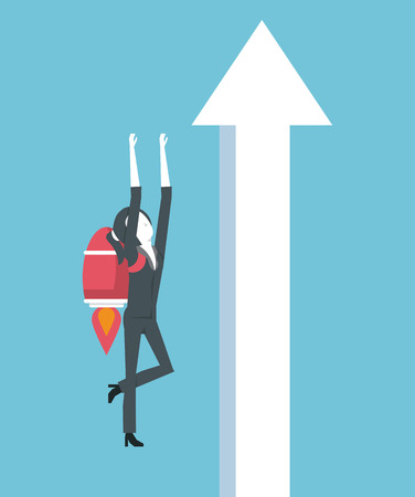 businesswoman leading the way to success vector illustration graphic design