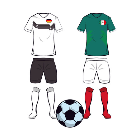 Soccer germany and mexico teams uniforms and ball vector illustration graphic design
