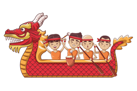Asians paddling on dragon boat festival cartoon vector illustration graphic design