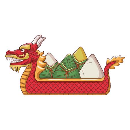 Rice on dragonb boat festival cartoon vector illustration graphic design
