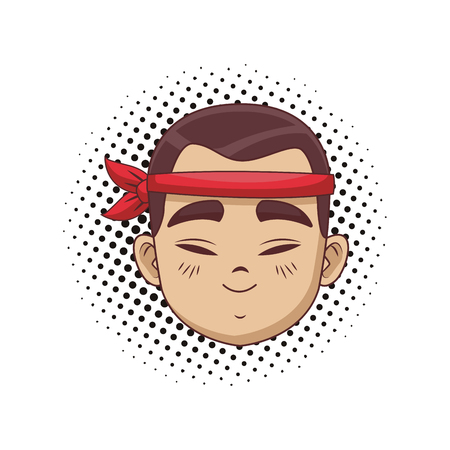 Young and happy asian man cartoon pop art vector illustration graphic design