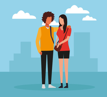 Young friends couple over cityscape cartoon vector illustration graphic design