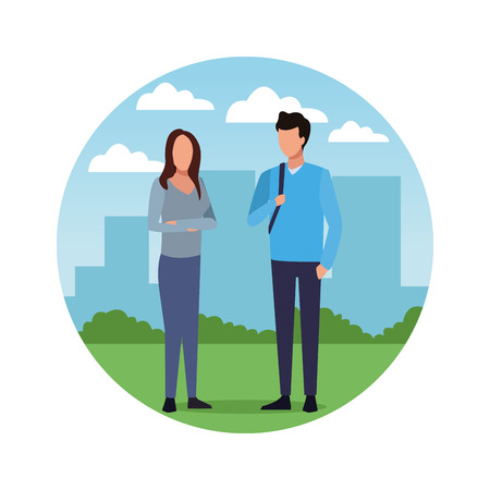 Young friends couple over cityscape cartoon round icon vector illustration graphic design