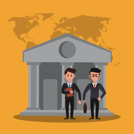 Bankers teamwork over bank building cartoon vector illustration graphic design Vectores