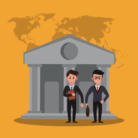 Bankers teamwork over bank building cartoon vector illustration graphic design Illustration