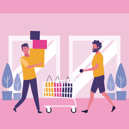 people with shopping bags at mall cartoon vector illustration graphic design