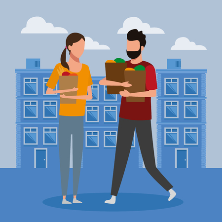 people shopping bags at city cartoon vector illustration graphic design