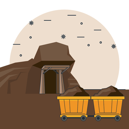 cart and cave mine mining cartoons vector illustration graphic design