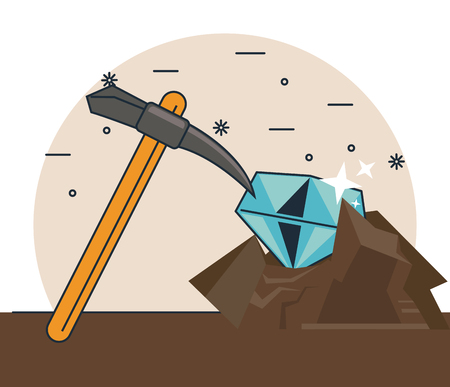 Diamond and pick mining cartoons vector illustration graphic design