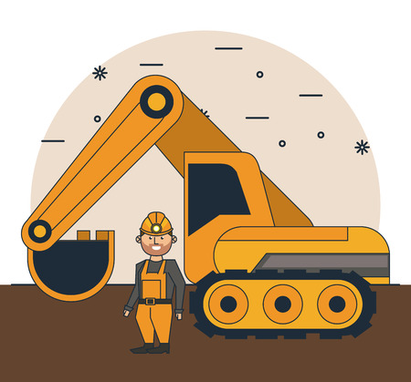 Mining worker with tools at mine cartoons vector illustration graphic design