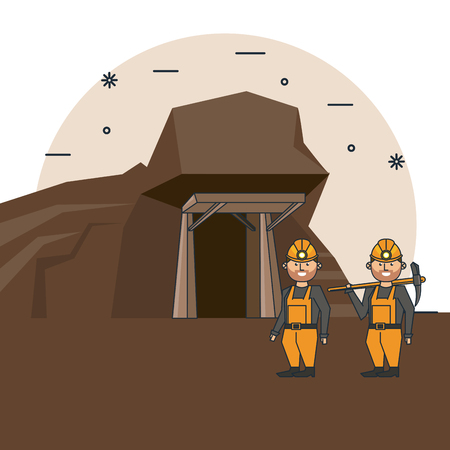 Mining workers with tools at mine cartoons vector illustration graphic design Illustration