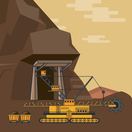 robot machine mining outside cave cartoons vector illustration graphic design