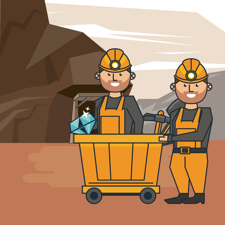 Mining workers with tools cartoons vector illustration graphic design