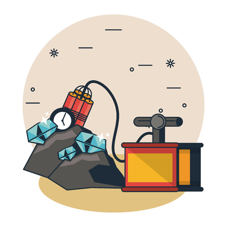 Mining cave and tools cartoons vector illustration graphic design