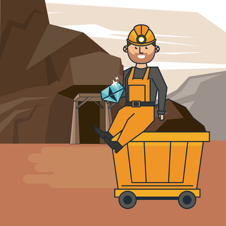 Mining worker with tool at mine cartoons vector illustration graphic design