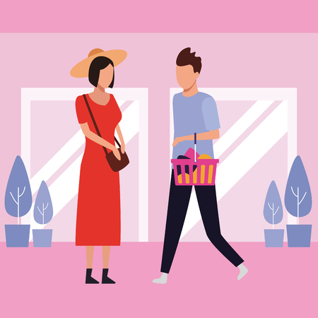 people shopping bags at mall cartoon vector illustration graphic design
