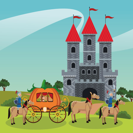 Kingdom medieval warriors riding horses and caring princess vector illustration graphic design