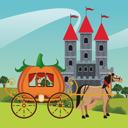 Horse with pumpkin carriage on kingdom vector illustration graphic design Vettoriali