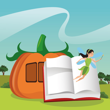 fairy cartoons coming out from book open on landscape vector illustration graphic design Stock fotó - 109937144