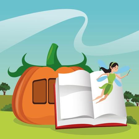 fairy cartoons coming out from book open on landscape vector illustration graphic design Ilustração