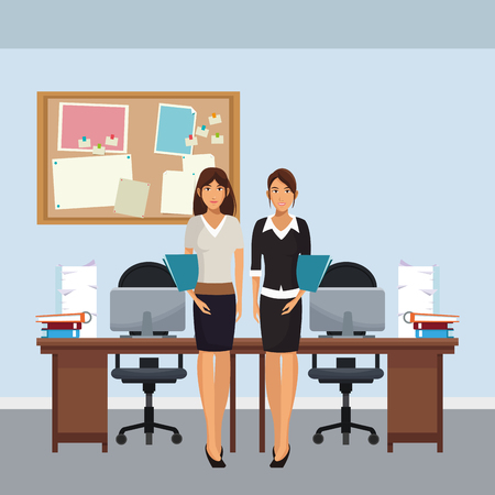 business colleagues working in office scenario and elements vector illustration graphic design Stockfoto - 109935148