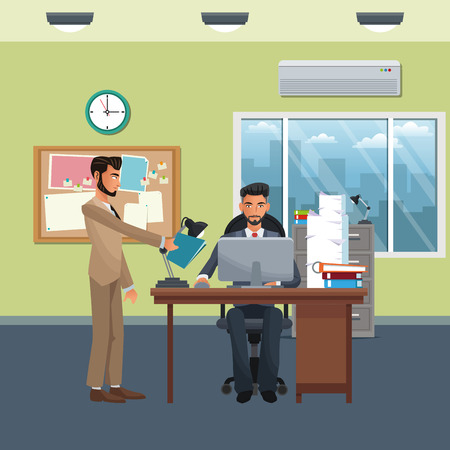 business coworker handing documents and working in office scenario and elements vector illustration graphic design